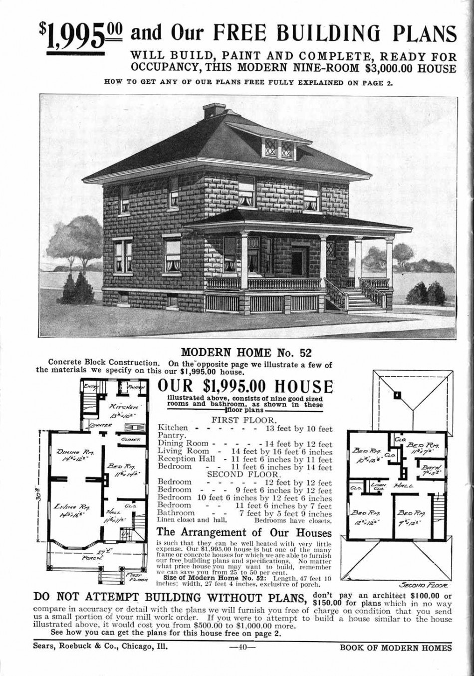 Sears Homes 1908 – 1914, Chicago, IL From the Sears Archives Model No. 52